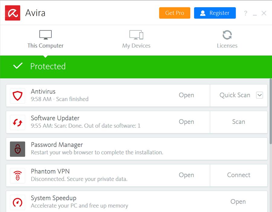 Avira Antivirus Interface